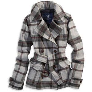American Eagle Outfitters Grey Plaid Pea Coat